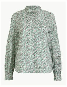 Per Una Pure Cotton Ditsy Floral Peplum-Back Shirt