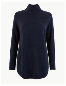 M&S Collection Cashmilon Curved Hem Relaxed Fit Jumper