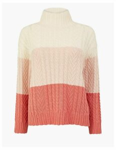M&S Collection Cotton Rich Colour Block Cable Jumper