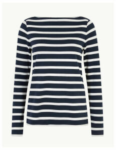 M&S Collection Striped Slash Neck Sweatshirt