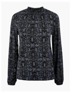 M&S Collection Animal Print Gathered Long Sleeve Top