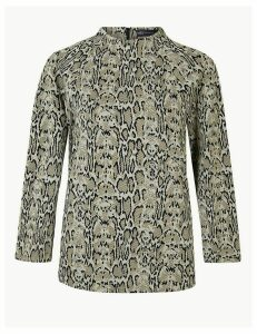 M&S Collection Animal Print 3/4 Sleeve Sweatshirt