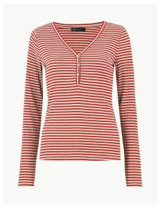 M&S Collection Striped V-Neck Fitted Top