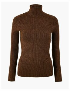 M&S Collection Ribbed Roll Neck Fitted Jumper