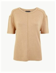 M&S Collection Marl Relaxed Fit Short Sleeve Top