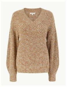 Per Una Textured V Neck Relaxed Fit Jumper
