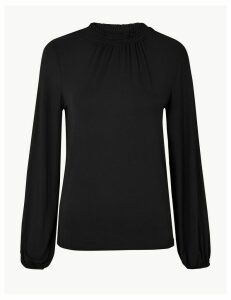 M&S Collection Gathered Neck Long Sleeve Top