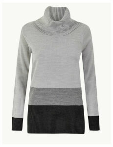 M&S Collection Cashmilon Colour Block Cowl Neck Jumper