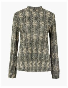 M&S Collection Printed Plisse Relaxed Fit Blouse