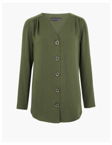 M&S Collection Longline V Neck Button Fastening Tunic