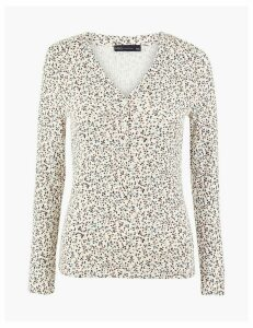 M&S Collection Floral Fitted Long Sleeve Top