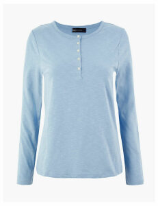 M&S Collection Pure Cotton Straight Fit Henley Top