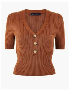 M&S Collection Knitted Button Detailed Short Sleeve Top