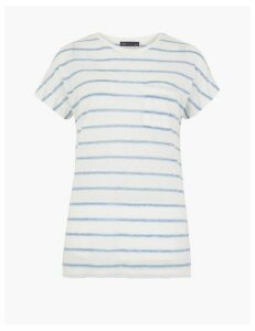 M&S Collection Linen Blend Striped Relaxed Fit T-Shirt