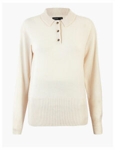 Autograph Knitted Wool Rich Polo Shirt with Cashmere