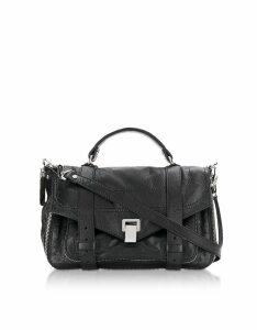 Proenza Schouler Designer Handbags, Black Ps1+ Tiny Zip-Paper Leather Satchel Bag
