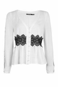 Womens Crochet + Ladder Trim Button Through Blouse - white - 14, White
