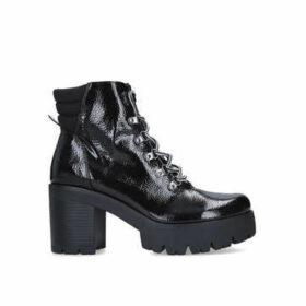 Steve Madden Hallow - Black Patent Block Heel Hiker Boots