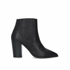 Carvela Sizzle - Black Snake Effect Block Heel Ankle Boots