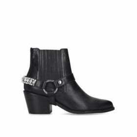Kurt Geiger London Sylvie Crystal - Black Embellished Block Heel Western Boots