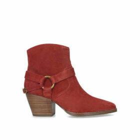 Michael Michael Kors Goldie Bootie - Rust Block Heel Ankle Boots