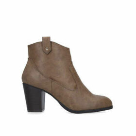 Miss Kg June - Tan Block Heel Ankle Boots