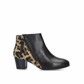 Carvela Comfort Rachel - Black And Leopard Print Block Heel Ankle Boots