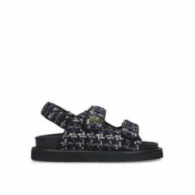 Kurt Geiger London Orson - Navy Tweed Eagle Embellished Chunky Sandals