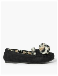 M&S Collection Pom Pom Moccasin Slippers
