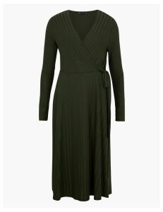 M&S Collection Ribbed Fit & Flare Midi Dress