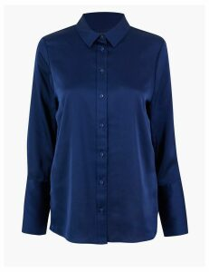 M&S Collection Satin Flared Cuff Shirt