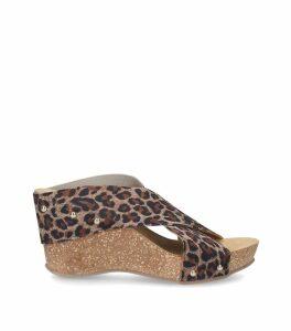 Leopard Print Sooty Wedge Sandals 75