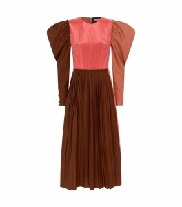 Ivy Puff-Sleeve Pleated Dress