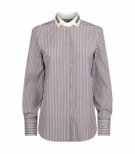Embellished Collar Stripe Shirt