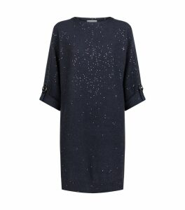 Sequin-Embellished Knit Dress