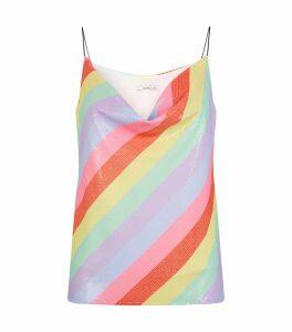 Clover Rainbow Stripe Sequin Camisole Top