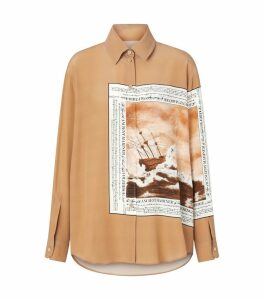 Mariner Print Oversized Silk Shirt