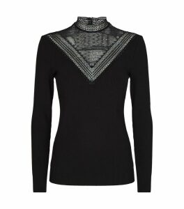 Lace-Trim Ribbed Sweater