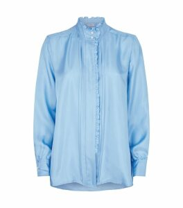 Silk Ruffle-Trim Shirt