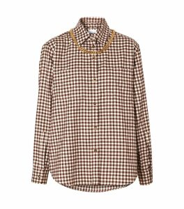 Gingham Chain-Embellished Cotton Shirt