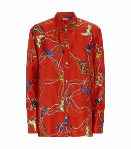 Printed Silk Twill Blouse