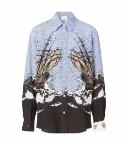 Ship Print Monogram Silk Shirt