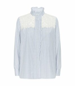 Lace Panel Mini Check Shirt