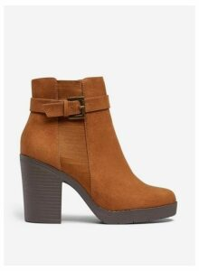 Womens Wide Fit Tan 'Aggy' Ankle Boots- Brown, Brown