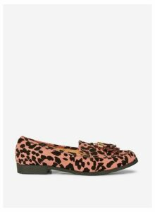 Womens Pink Leopard Print 'Lille' Loafers, Pink
