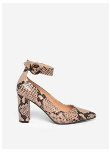 Womens Nude 'Divine' Snake Print Court Shoes- Nude, Nude