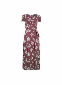 Womens Tall Berry Floral Print Ruffle Midi Dress - Multi Colour, Multi Colour