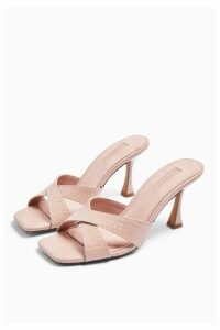 Womens Niece Pink Cross Strap Mules - Pink, Pink