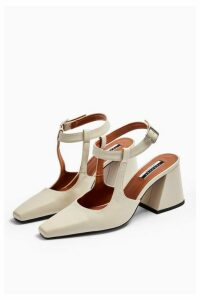Womens Garcia Leather White Block Heels - Off White, Off White