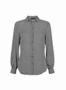 Womens Monochrome Dogtooth Print Balloon Sleeve Shirt- Black, Black